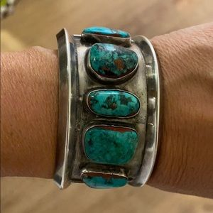 Authentic Indian turquoise silver cuff bracelet